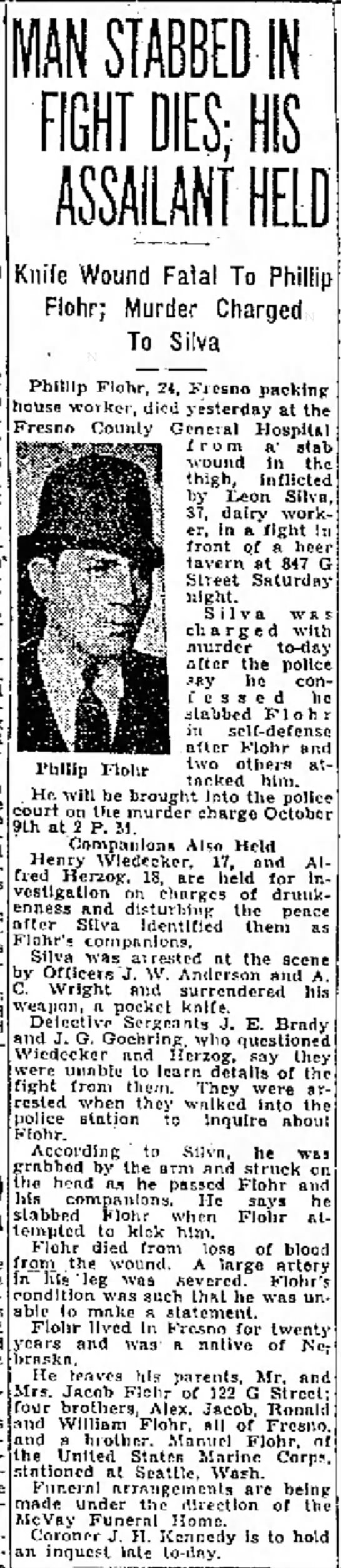 Phillip Flohr, Fatal Stabbing, 17 Sep 1934, The Fresno Bee, Fresno, CA - To of of the San valuation at the power both...