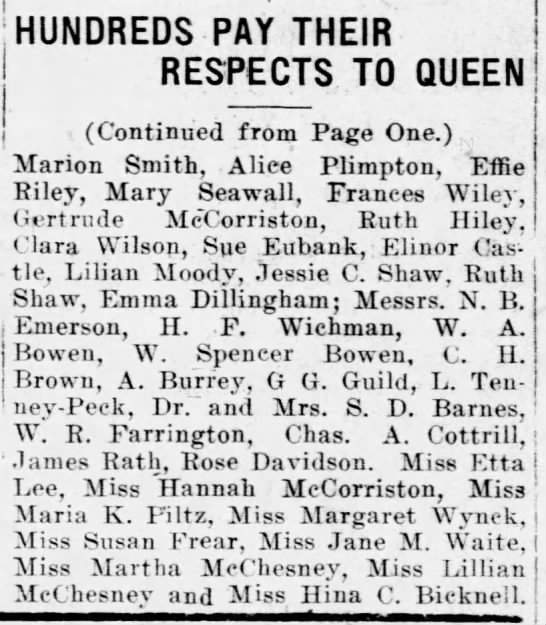HANNAH MCCORRISTON: Received by Queen Liliuokalani, pt 2, 1912 -