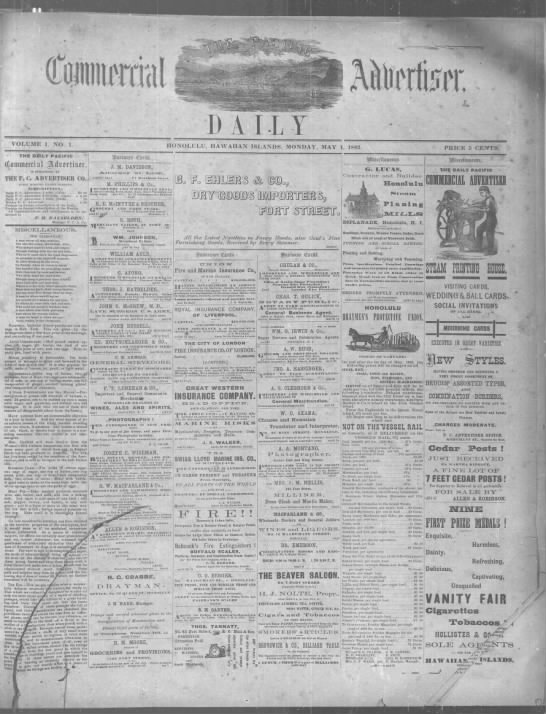 First issue of the daily edition of the Commercial Advertiser - T V : l -A M d i . 71 , Hi . i ft ll 4 i . i ii...