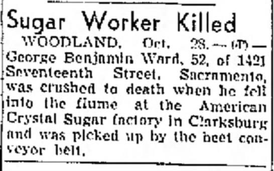 1942-10-28 George Ward - Sugar Worker Killed - Newspaper Article -