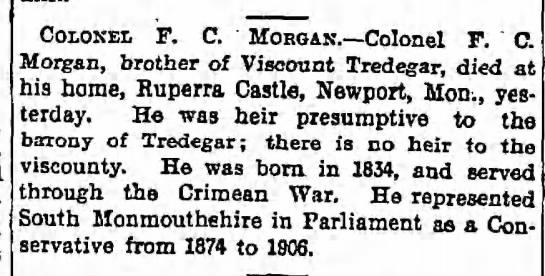 Evan Morgan's paternal grandfather died this week in 1909. -