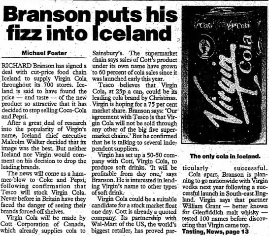 virgin cola iceland deal -