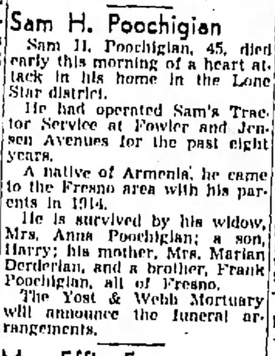 Sam Poochigian Obituary