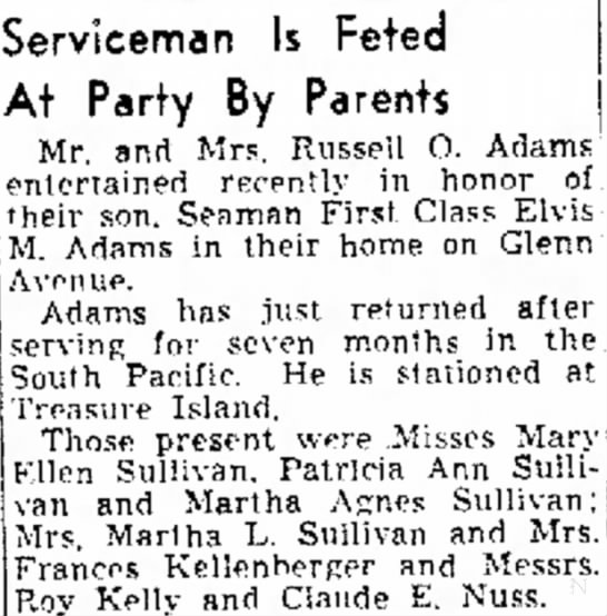 Fresno Bee June 5, 1945 Sullivan, ME -