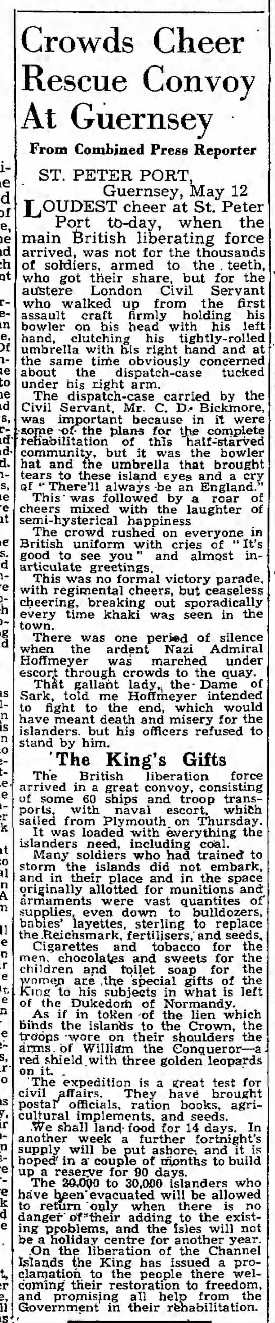"""""""Crowds Cheer Rescue Convoy at Guernsey"""" 5/13/1945 -"""