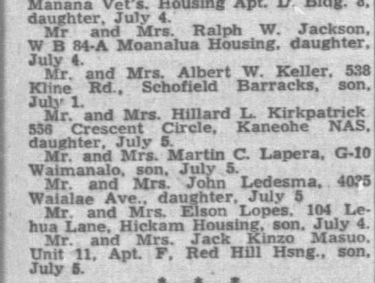 Birth records Honolulu Star-Advertiser (Honolulu, HI) 9 Jul 1949, Sat   Page 11 -