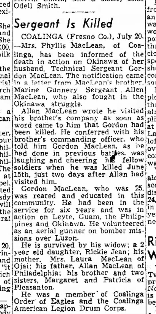 Allan Maclean and Gordon Maclean: The Fresno Bee: 20 July 1945, pg 10 -