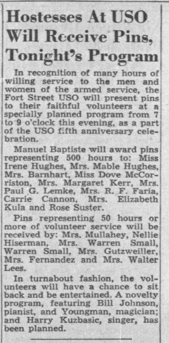 HANNAH MCCORRISTON: 500 hours of service to USO, 1946 -