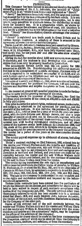 Floatation of Bovril 1889 -