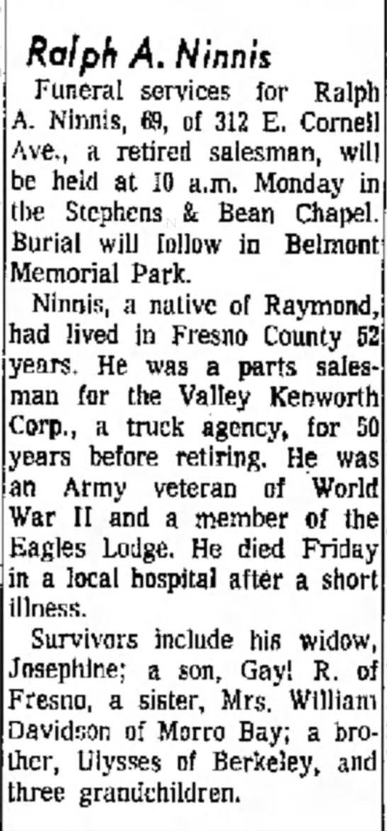 The Fresno Bee The Republican (Fresno, CA)  15 Jun 1969 -