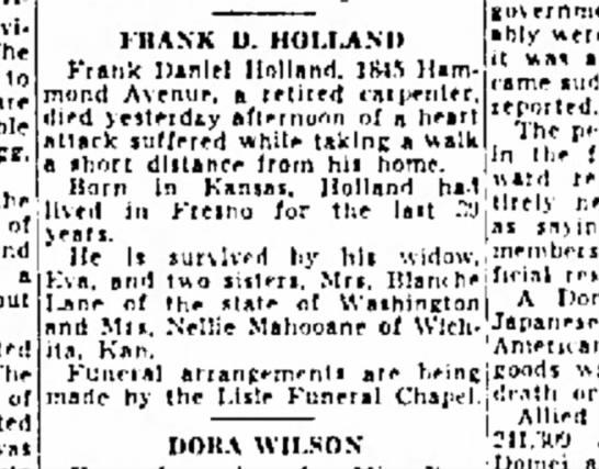 Frank D Holland -