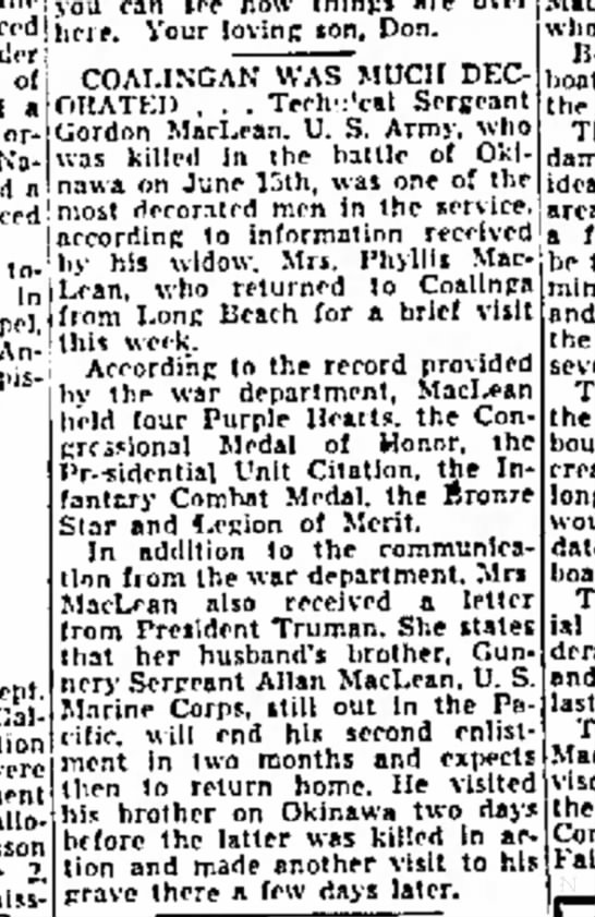 Gordon Maclean:  Decorated soldier:  The Fresno Bee: 20 Sept 1945, pg 17 -