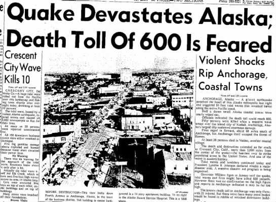 Alaska earthquake with Crescent City and Anchorage datelines -