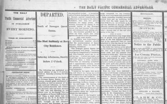 April 1885: Queen Emma dies - n Pacific Conncrcial Advertiser IS PUBLISHED...