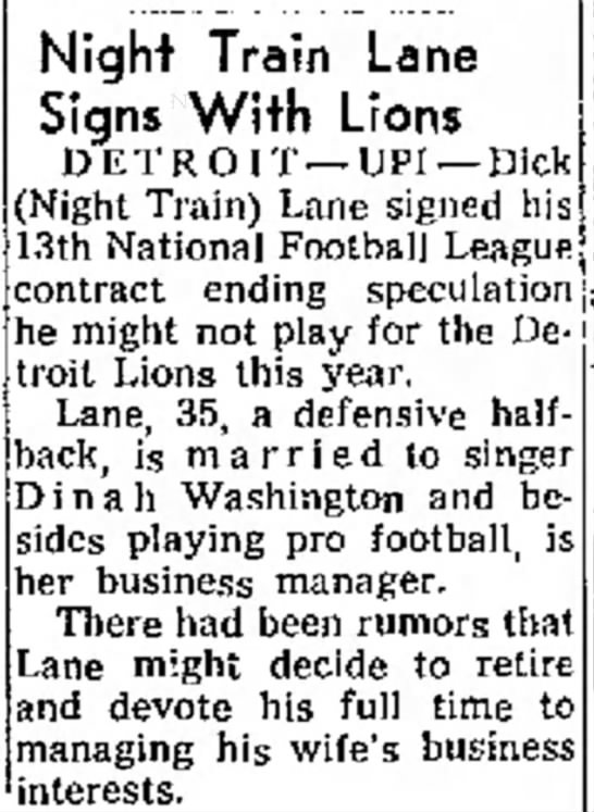 Night Train Lane Signs With Lions -