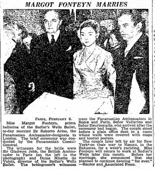 Margot Fonteyn Marries. The Manchester Guardian. (London, England) 7 Feburary 1955, p 1 -