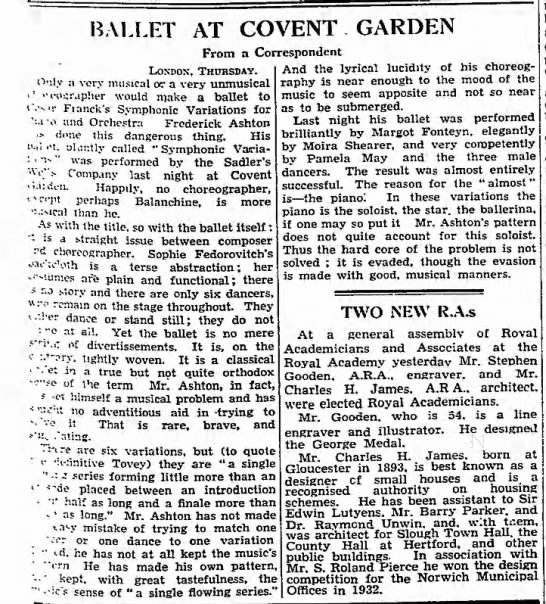 Ballet at Covent Garden. The Manchester Guardian. (London, England) 26 April 1946, p 3 -