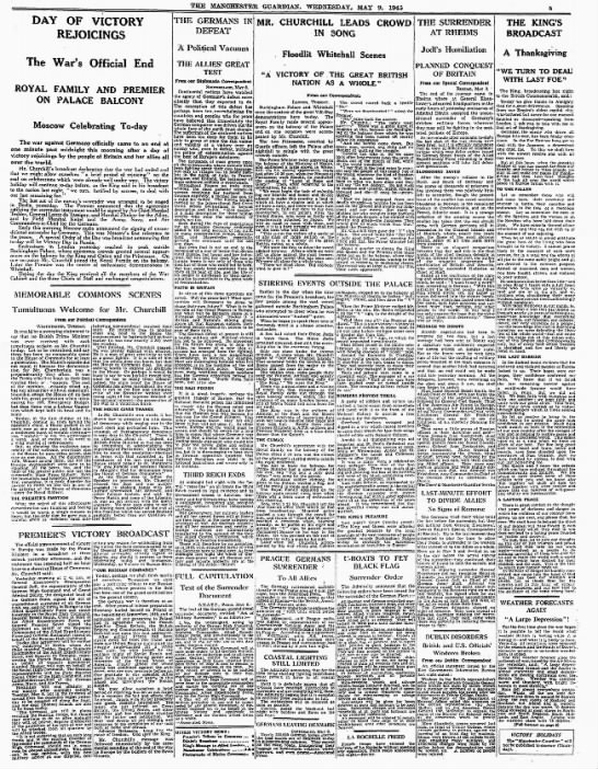 Newspaper coverage summarizing government speeches and how Great Britain celebrated V-E Day -