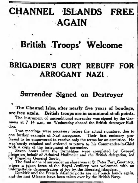 """Channel Islands Free Again"" 5/11/1945 -"