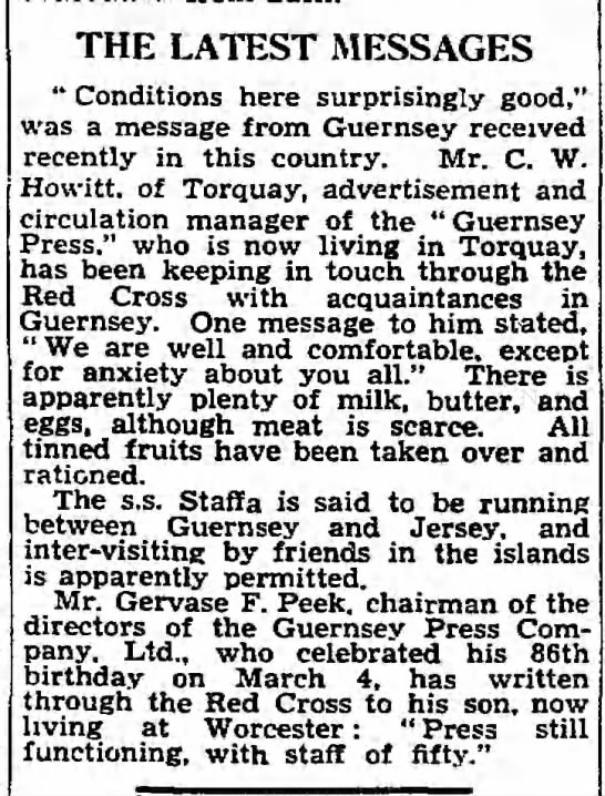 """""""Latest Messages"""" from Guernsey, 5/30/1941 -"""