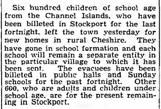 "Guernsey children sent to ""new homes in Cheshire"" 1940 -"