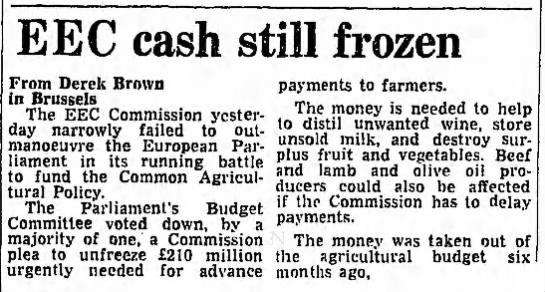 EEC cash still frozen -