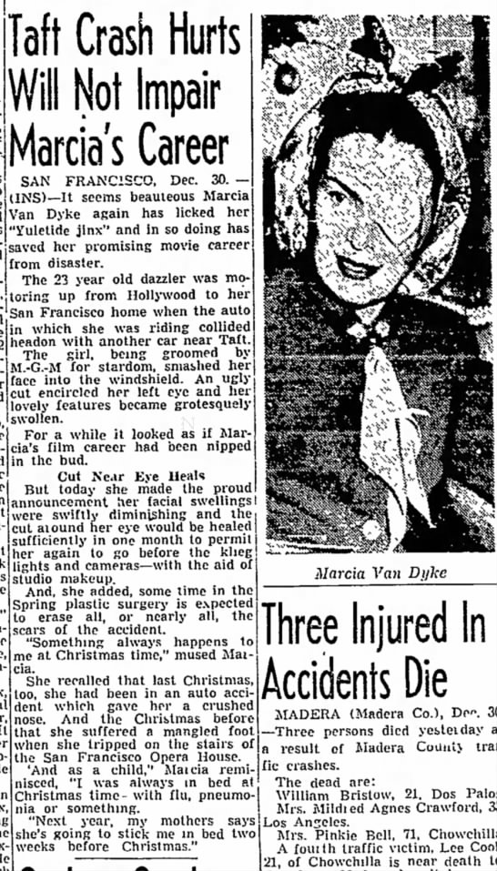 Marcia Van Dyke's automobile accident -