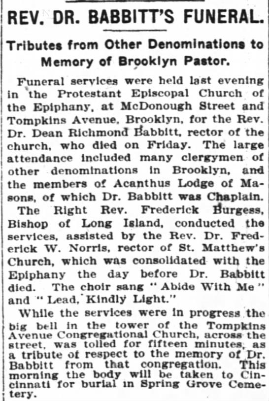 Rev Babbitt's funeral 23 Jul 1905 -