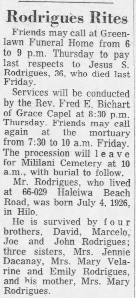 Rodrigues Rites 18 June 1963 Honolulu Star-Advertiser