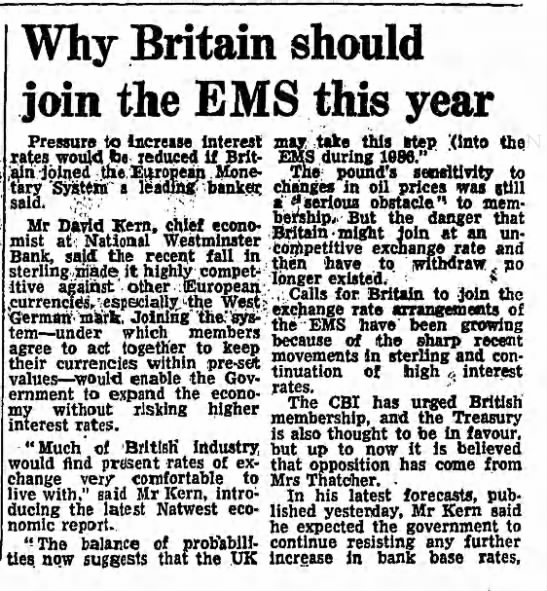 Why Britain should join the EMS this year -