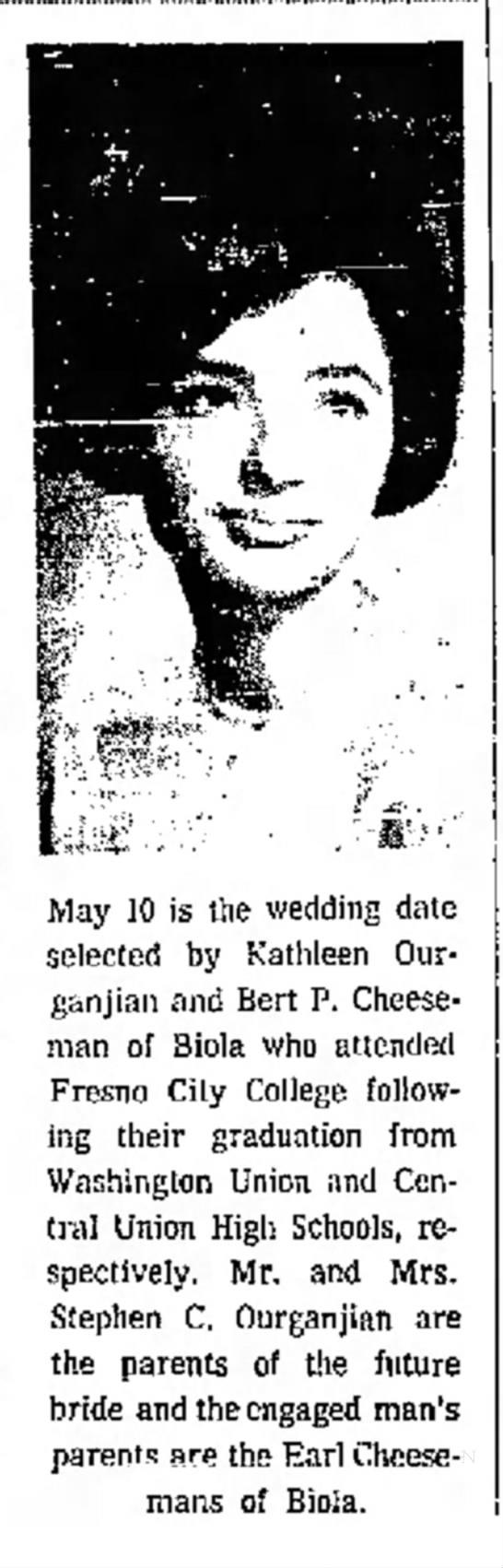 Kathleen Ourganjian engagement to Bert P Cheeseman -