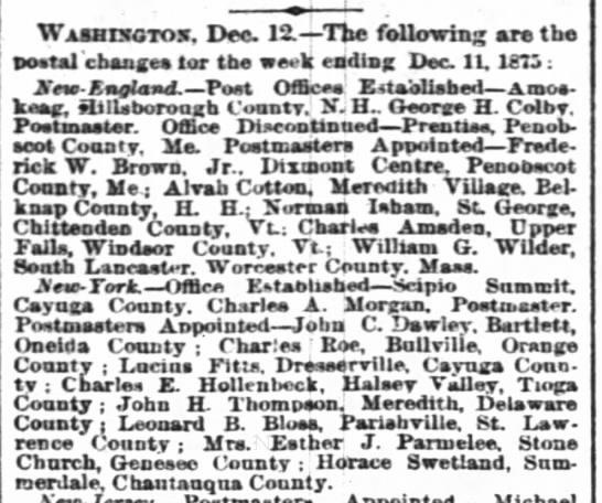 Horace Swetlandappointed postmaster-Summerdale Chautauqua CountyNY Times Dec 13, 1875 -