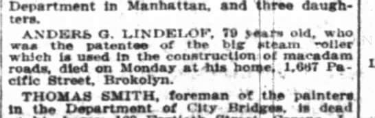 Anders G Lidelof  Obituary in The New York Times DOD Monday 20 Dec 2012 - Department in Manhattan, and three daugh ters,...
