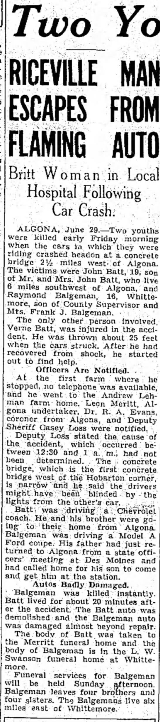 Raymond Balgeman, son of Frank Balgeman, killed, 1934 -