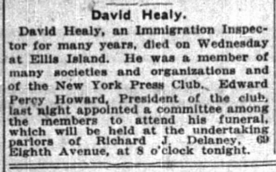 Inspector Healy Obituary. NYT March 17, 1916. page11 -