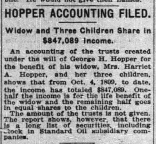 George Hopper - HOPPER ACCOUNTING FILED. Widow and Thrso...
