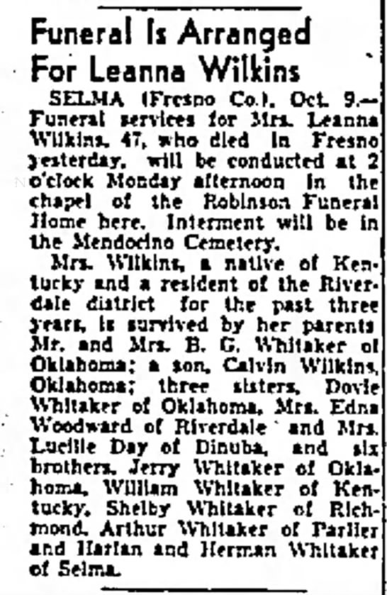 1937-10-10 WHITAKER LEANNA WILKINS - decades back. Funeral Is Arranged For Leanna...