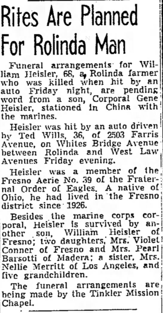 William Heisler - accidental death -