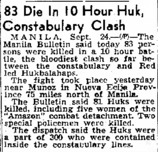 right before Bessie returned to Manila? - M. 83 Die In 10 Hour Constabulary Clash M A N I...