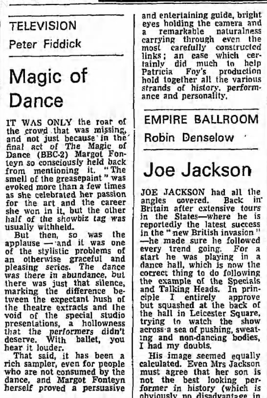 Fiddick, Peter. Magic of Dance. The Guardian. (London, England) 11 December 1979, p 9 -