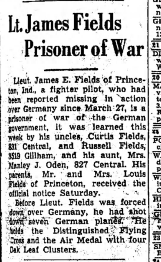 Fields_James_Lt_POW_1944 - Lt, James Fields Prisoner of War ; »l Ueut...