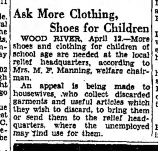 Mrs M F Manning - Ask More Clothing, Shoes for Children WOOD...