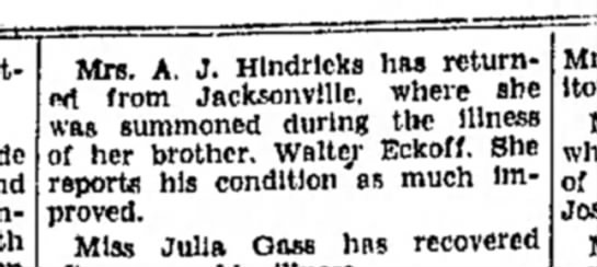 Walter Eckhoff ill at hospital in Jacksonville 1934 -