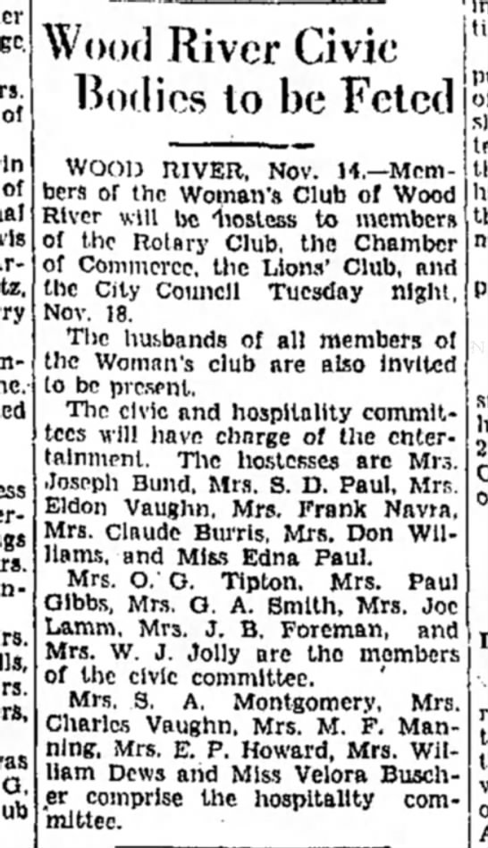 Mrs M F Manning - of of Wood River Civic Bodies to he Feted G....
