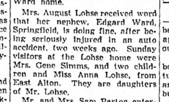 Mrs. August Lohse and nephew Edgar Ward -