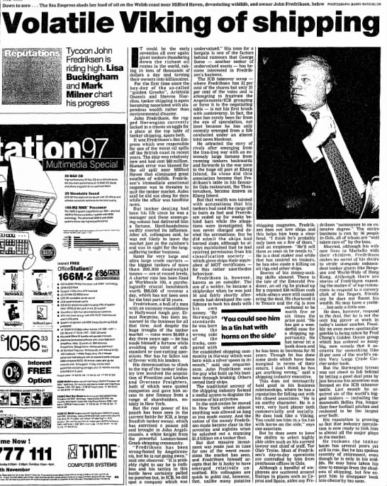Fredriksen profile by The Guardian  Oct. 25 1997 -