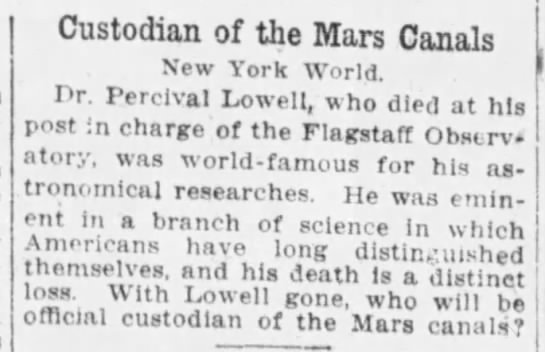 """With Lowell gone, who will be official custodian of the Mars canals?"" 1916 -"