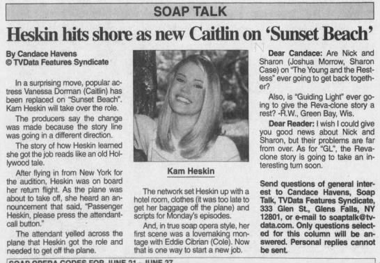 Heskin hits shore as new Caitlin on 'Sunset Beach' -