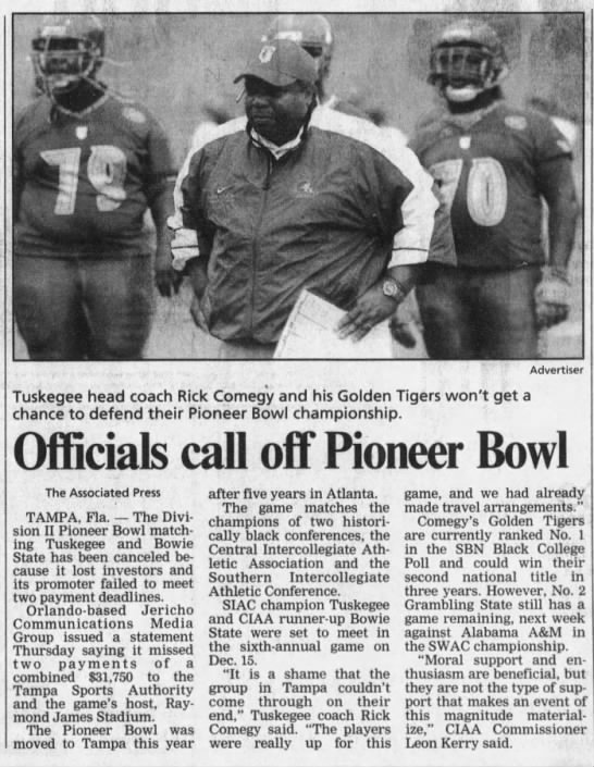 Pioneer Bowl cancelled 2002 -