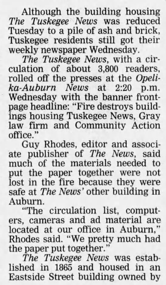 Building Lost, but not 'News' (building in Tuskegee burns down) -